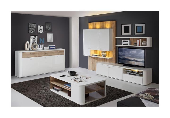 couchtisch marlow beistelltisch wohnzimmertisch wei hochglanz und planked eiche ebay. Black Bedroom Furniture Sets. Home Design Ideas