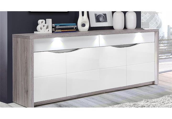 sideboard saint tropez kommode anrichte wei hochglanz sandeiche mit led ebay. Black Bedroom Furniture Sets. Home Design Ideas