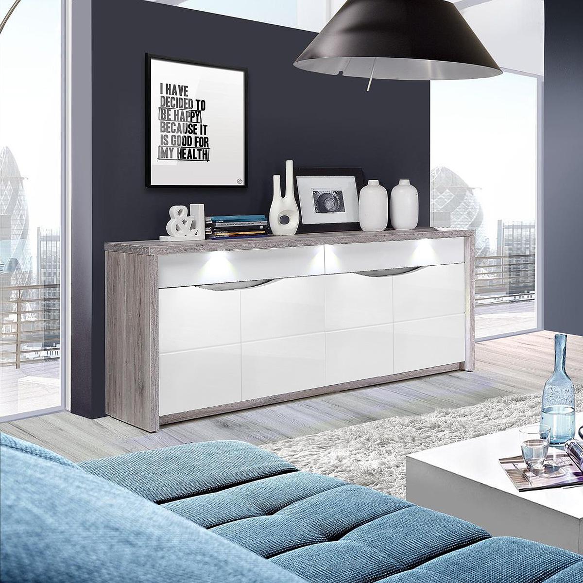 sideboard saint tropez kommode anrichte wei hochglanz sandeiche mit led ebay. Black Bedroom Furniture Sets. Home Design Ideas
