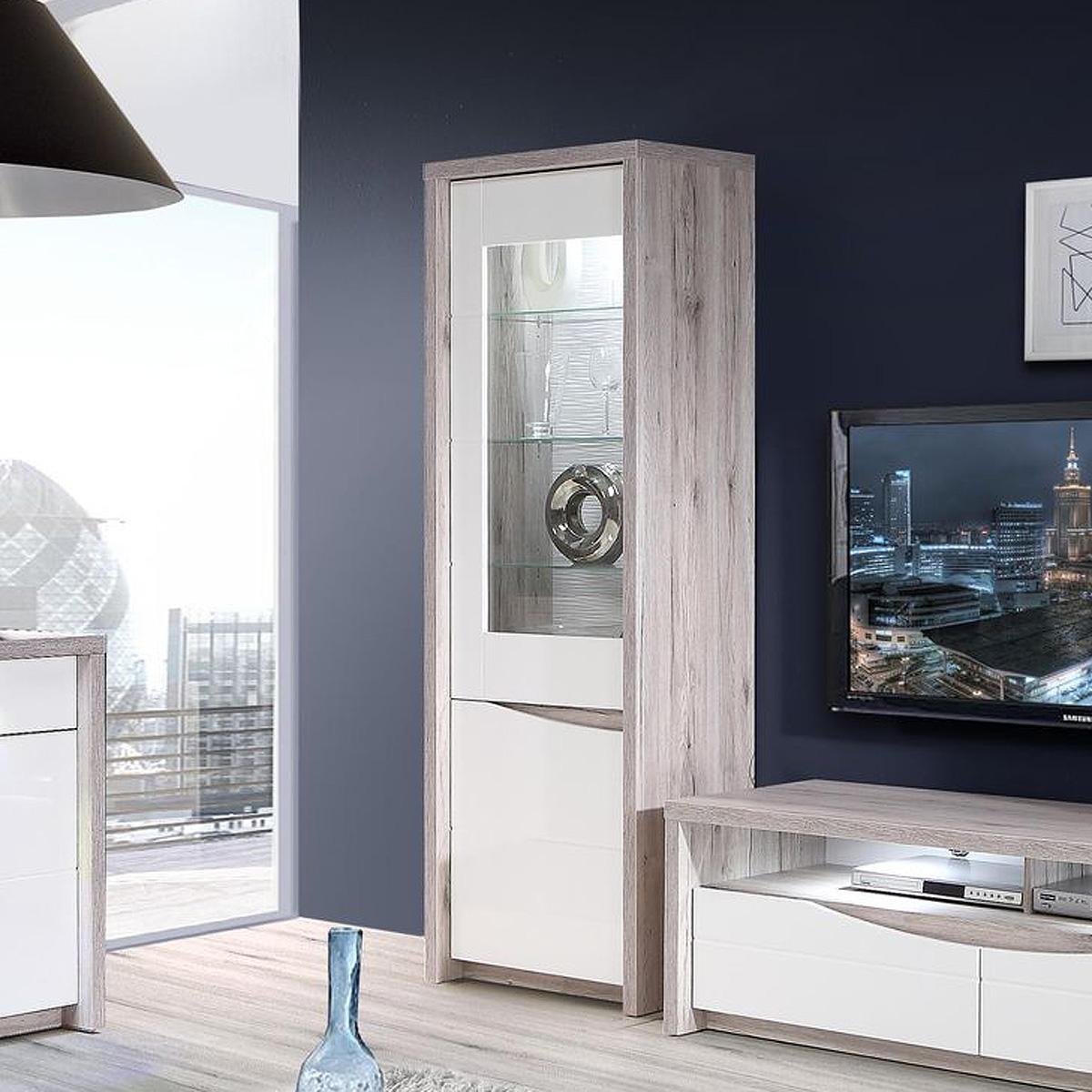 vitrine saint tropez schrank glasvitrine wei hochglanz. Black Bedroom Furniture Sets. Home Design Ideas