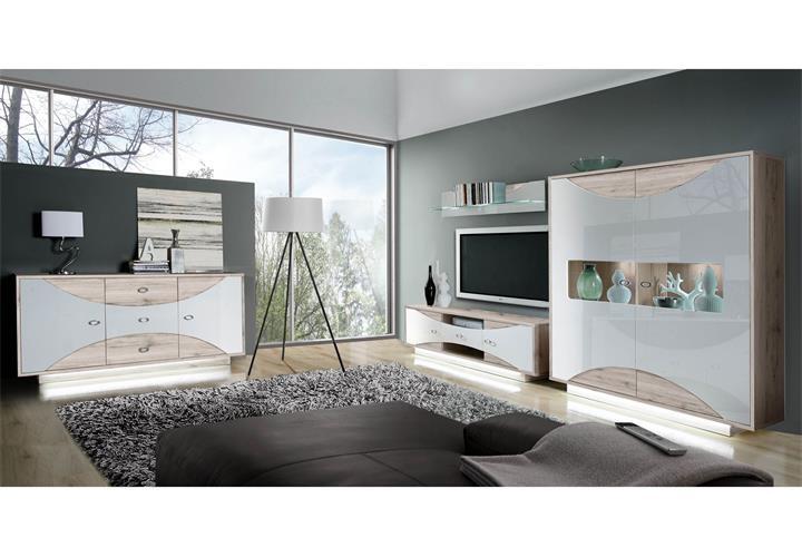 Wohnwand 2 Wave Anbauwand Wohnzimmer in weiß Hochglanz und ...