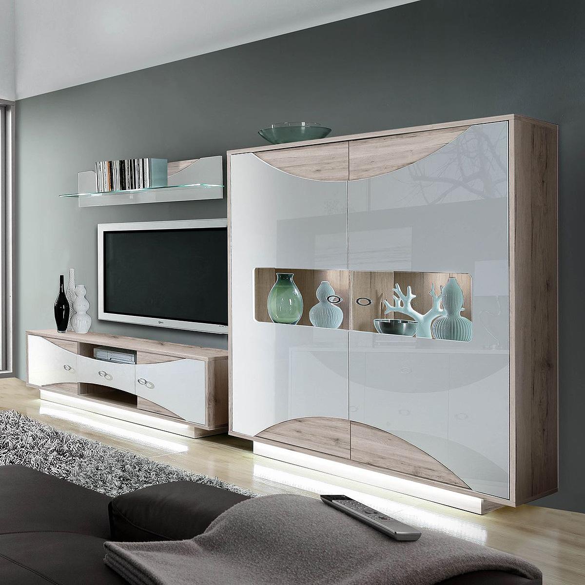 wohnwand 2 wave anbauwand wohnzimmer in wei hochglanz und sandeiche mit led ebay. Black Bedroom Furniture Sets. Home Design Ideas