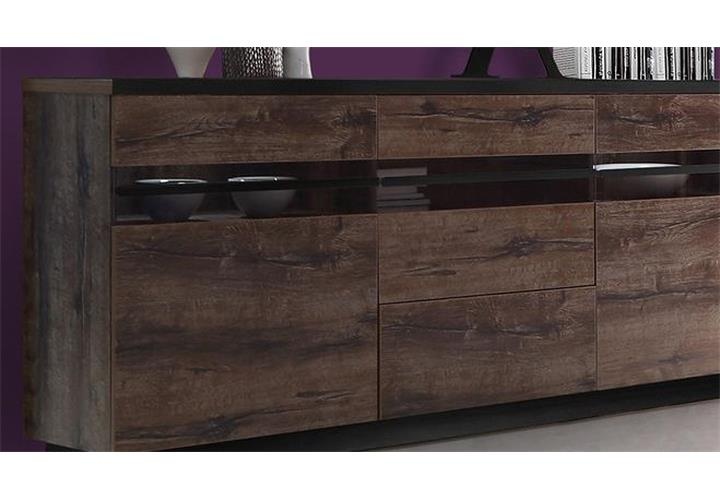 sideboard abro kommode anrichte in schlammeiche und schwarzeiche mit led ebay. Black Bedroom Furniture Sets. Home Design Ideas