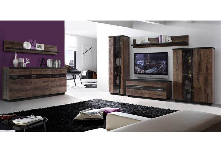wohnwand 2 abro anbauwand wohnzimmer in schlammeiche und schwarzeiche led eur 648 95 picclick de. Black Bedroom Furniture Sets. Home Design Ideas