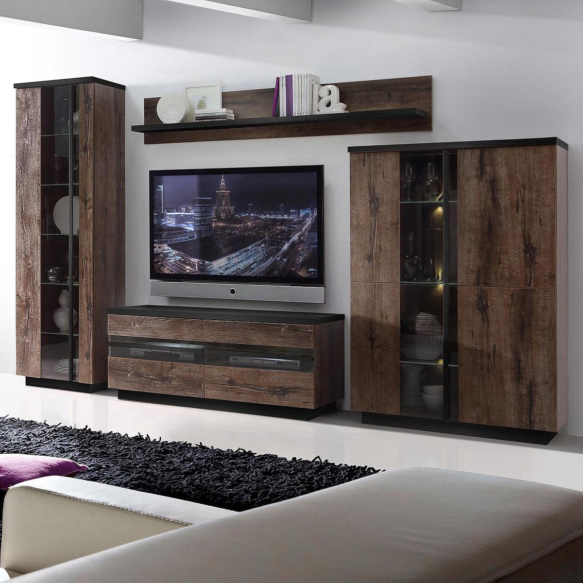wohnwand 2 abro anbauwand wohnzimmer in schlammeiche und. Black Bedroom Furniture Sets. Home Design Ideas