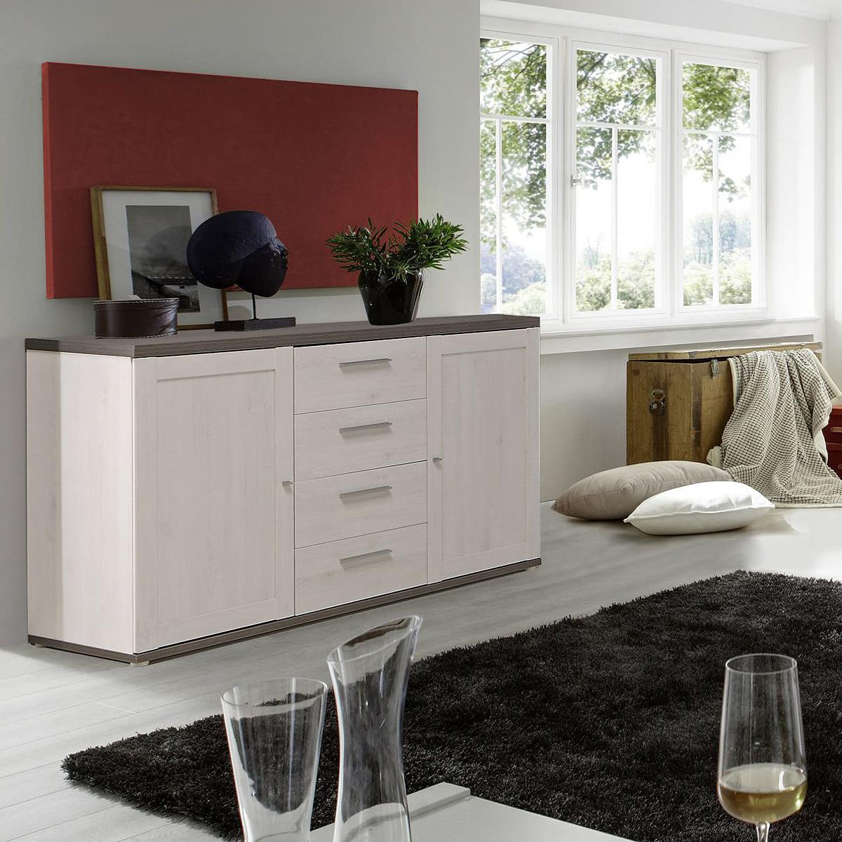 sideboard rivero kommode anrichte in schnee eiche und pinie grau. Black Bedroom Furniture Sets. Home Design Ideas