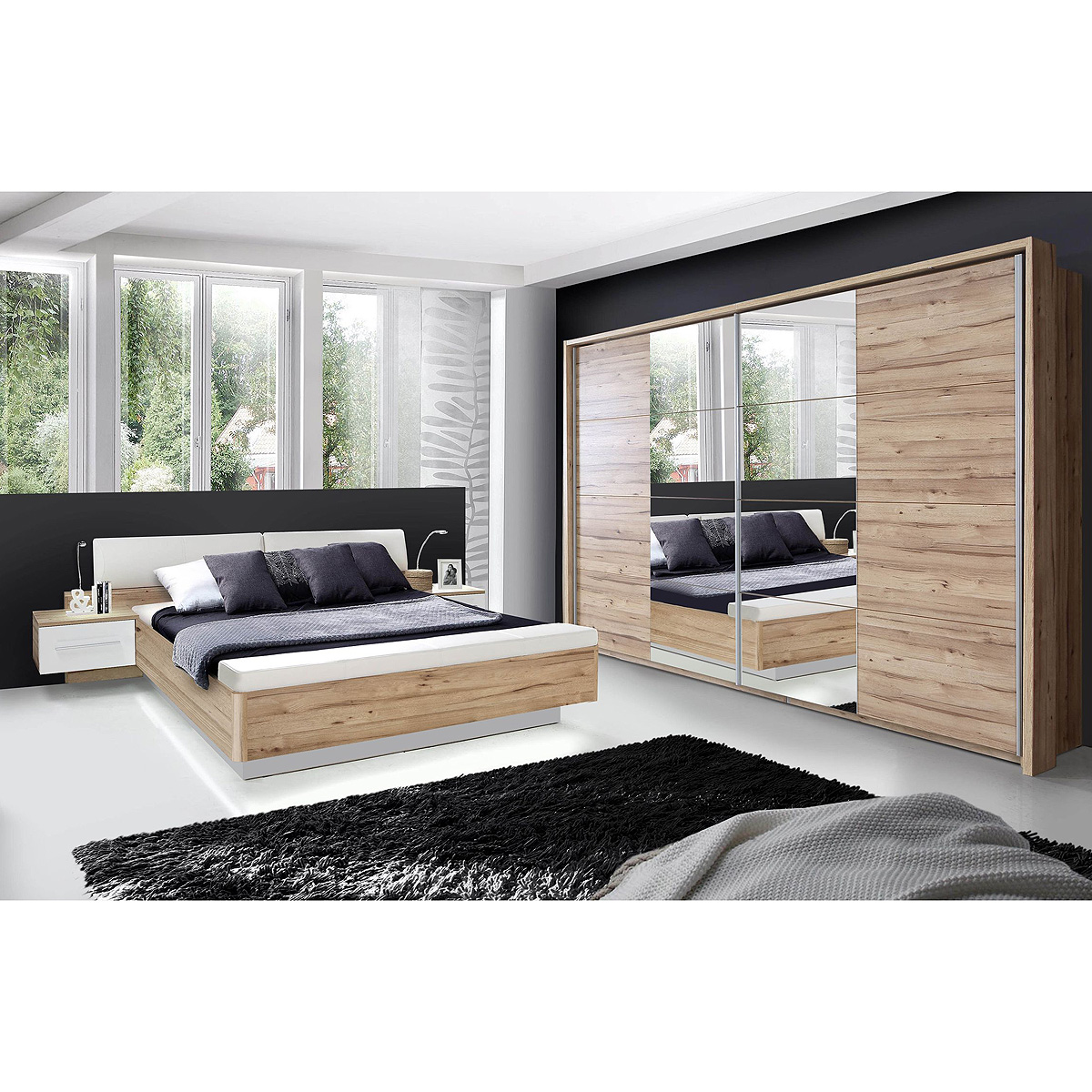 schlafzimmerset minero schlafzimmer schrank bett nachtkommode planked eiche wei ebay. Black Bedroom Furniture Sets. Home Design Ideas