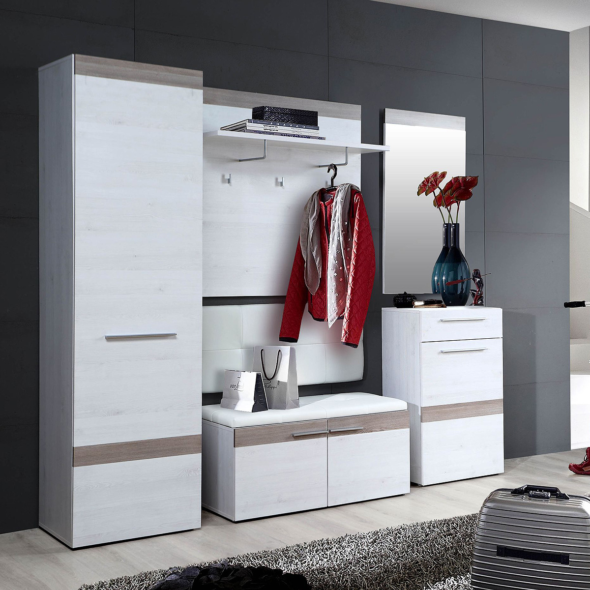 garderobenset alesco garderobe flurm bel in schnee eiche und nelsoneiche ebay. Black Bedroom Furniture Sets. Home Design Ideas