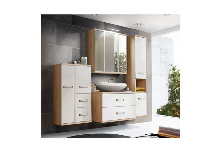 badezimmerset 2 ducato badezimmer badm bel in sonoma eiche wei hochglanz ebay. Black Bedroom Furniture Sets. Home Design Ideas