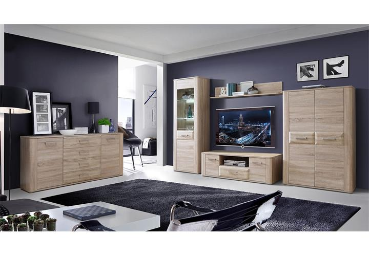schrank aspence highboard wohnzimmerschrank vitrine in sonoma eiche. Black Bedroom Furniture Sets. Home Design Ideas