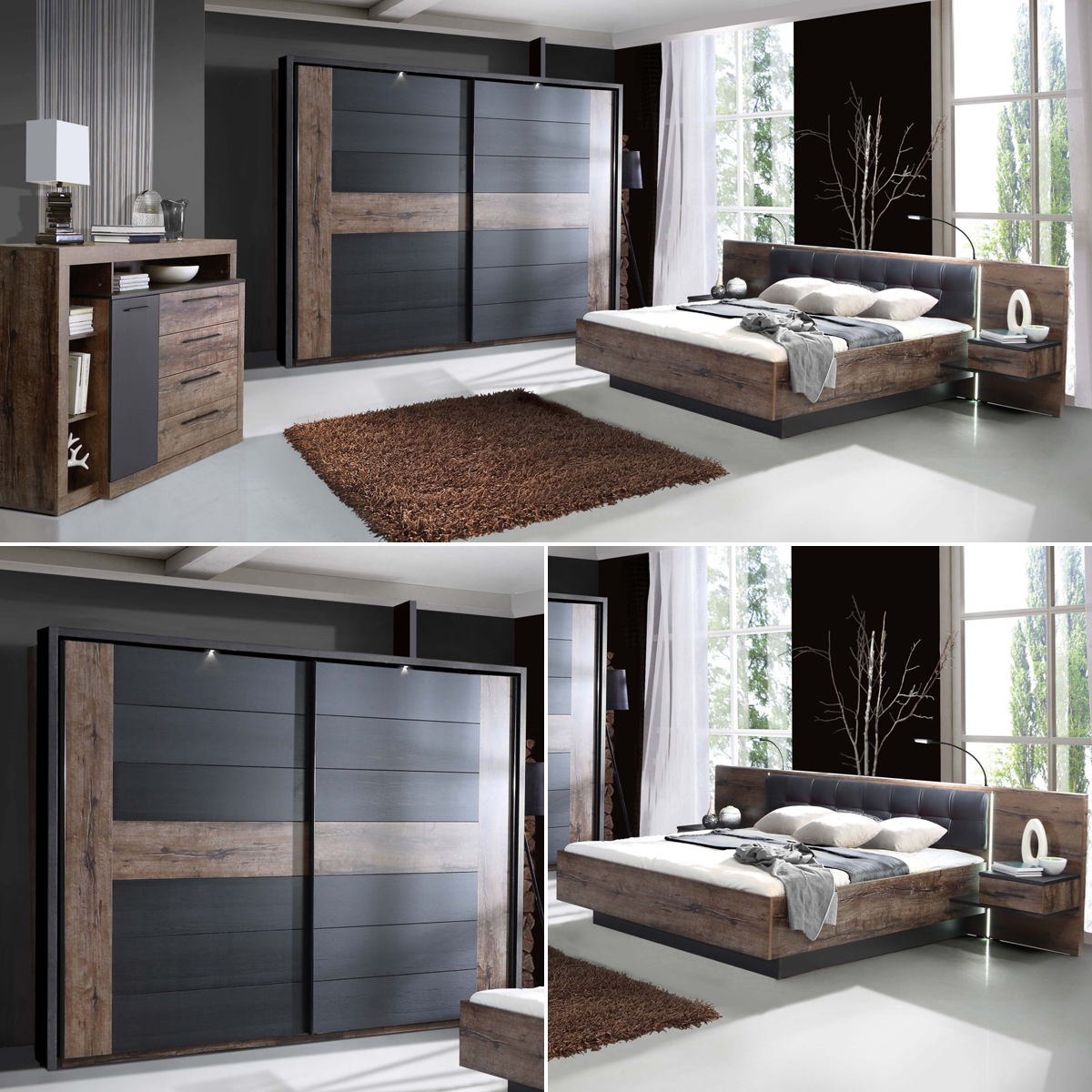 schlafzimmer bellevue bett 180x200 nachttische. Black Bedroom Furniture Sets. Home Design Ideas