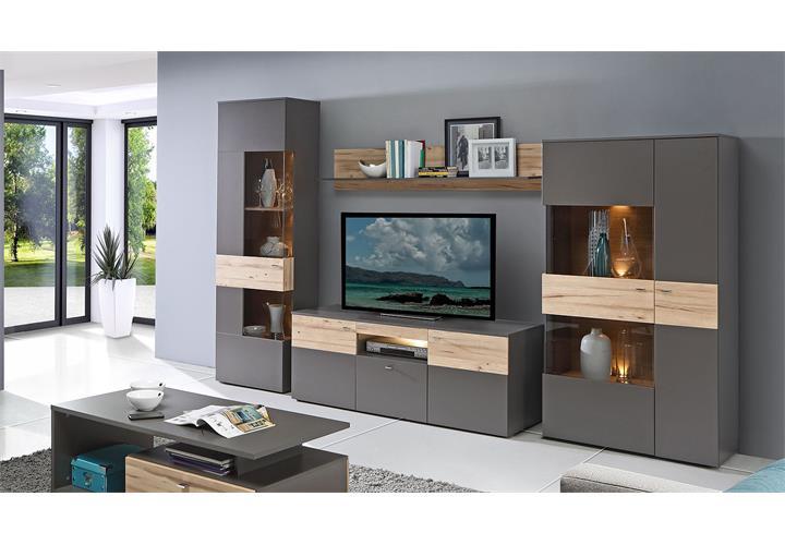 Wohnwand Como Anbauwand Wohnzimmer Uni Wolfram Grau Und Planked