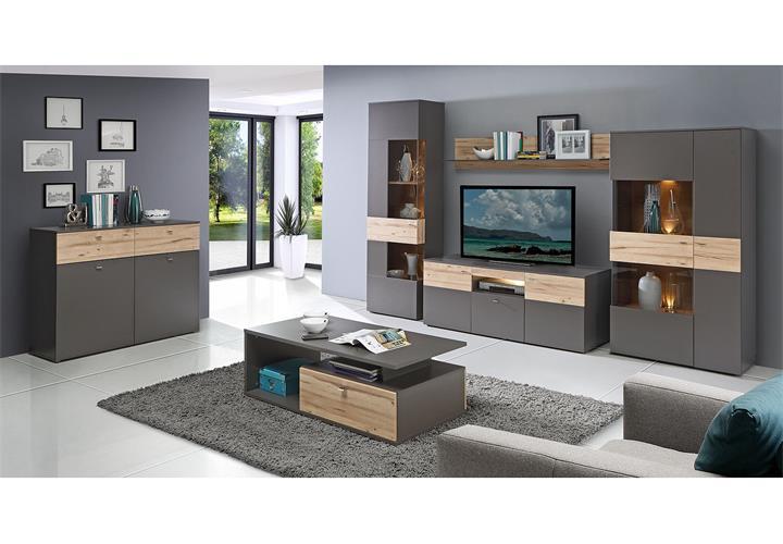 wohnwand como anbauwand wohnzimmer uni wolfram grau und planked eiche mit led ebay. Black Bedroom Furniture Sets. Home Design Ideas