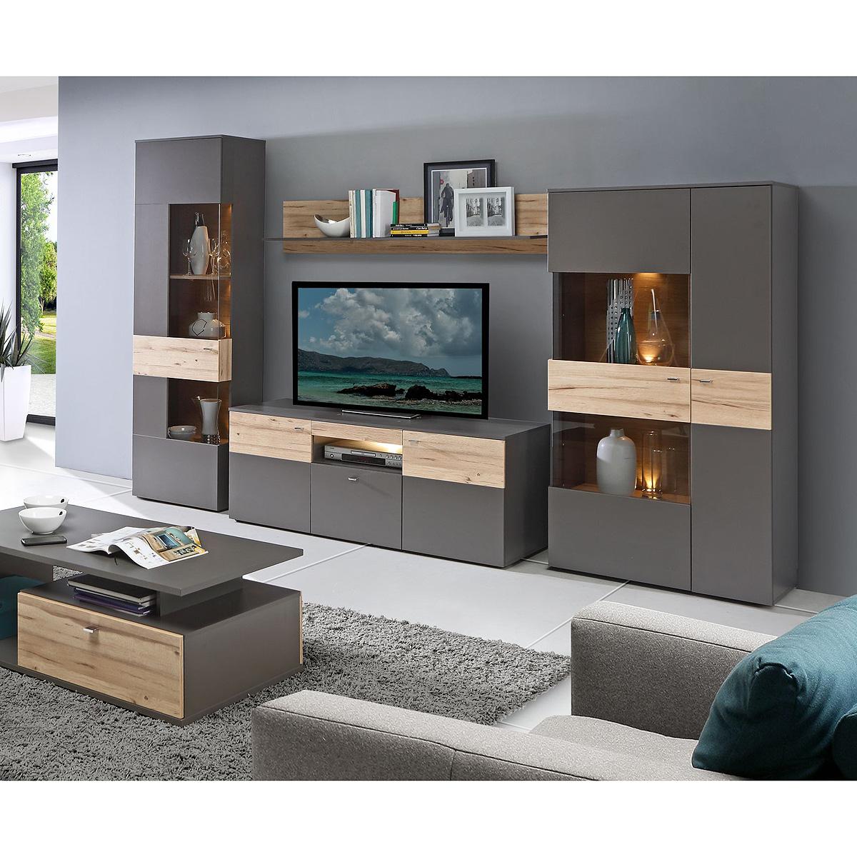 wohnwand como anbauwand wohnzimmer uni wolfram grau und planked eiche mit led eur 629 95. Black Bedroom Furniture Sets. Home Design Ideas