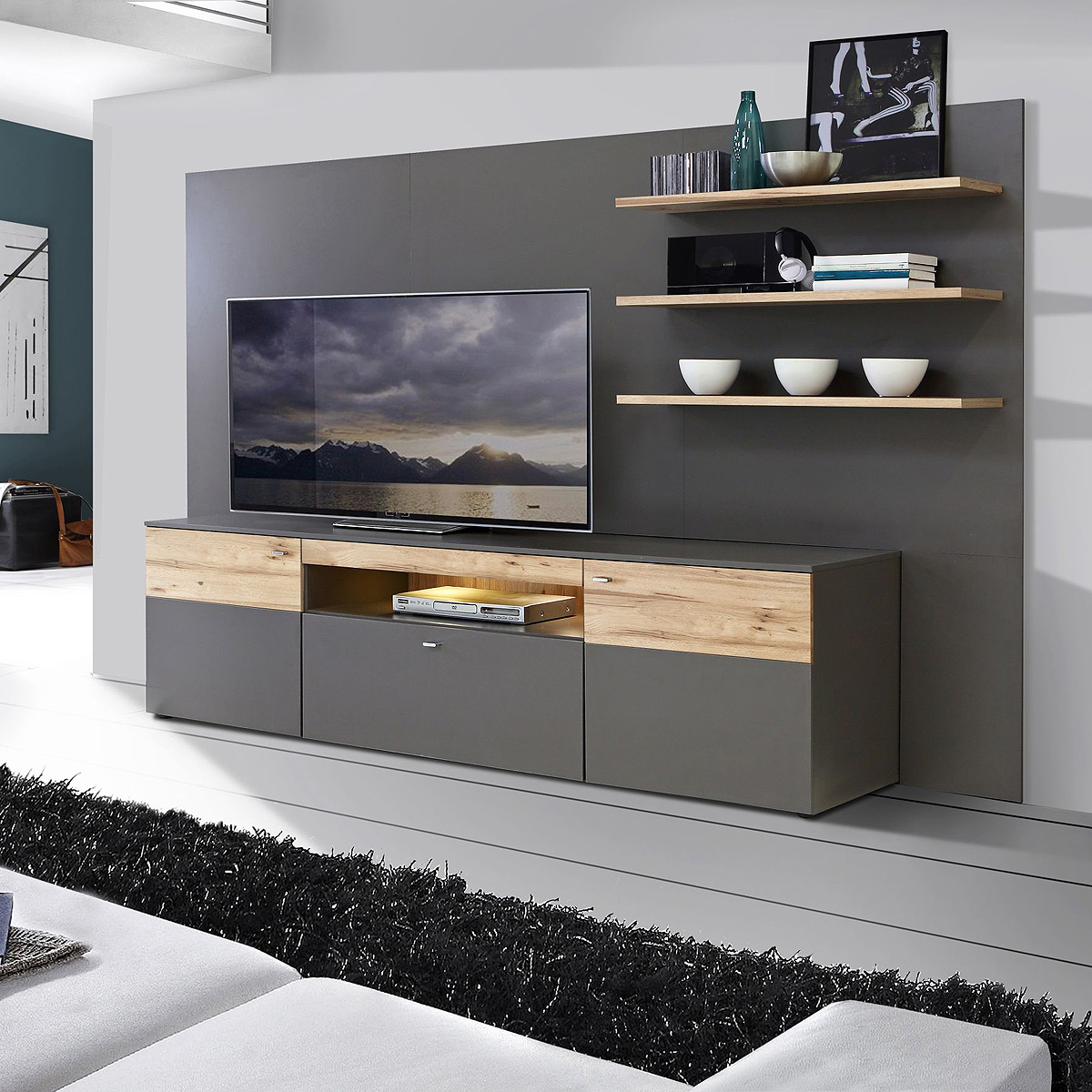 mediacenter como wohnwand wohnzimmer uni wolfram grau und planked eiche mit led ebay. Black Bedroom Furniture Sets. Home Design Ideas