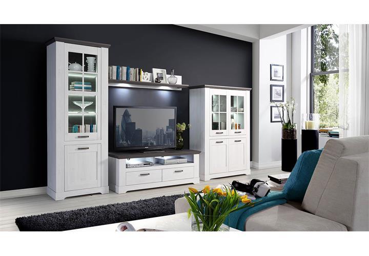 wohnwand garlando anbauwand wohnzimmer wohnkombi schneeeiche wei und pinie grau ebay. Black Bedroom Furniture Sets. Home Design Ideas