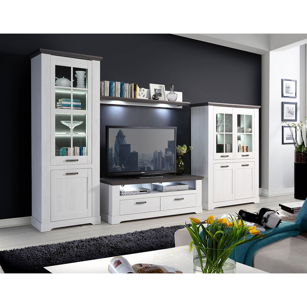 wohnwand garlando anbauwand wohnzimmer wohnkombi schneeeiche wei und pinie grau ebay. Black Bedroom Furniture Sets. Home Design Ideas