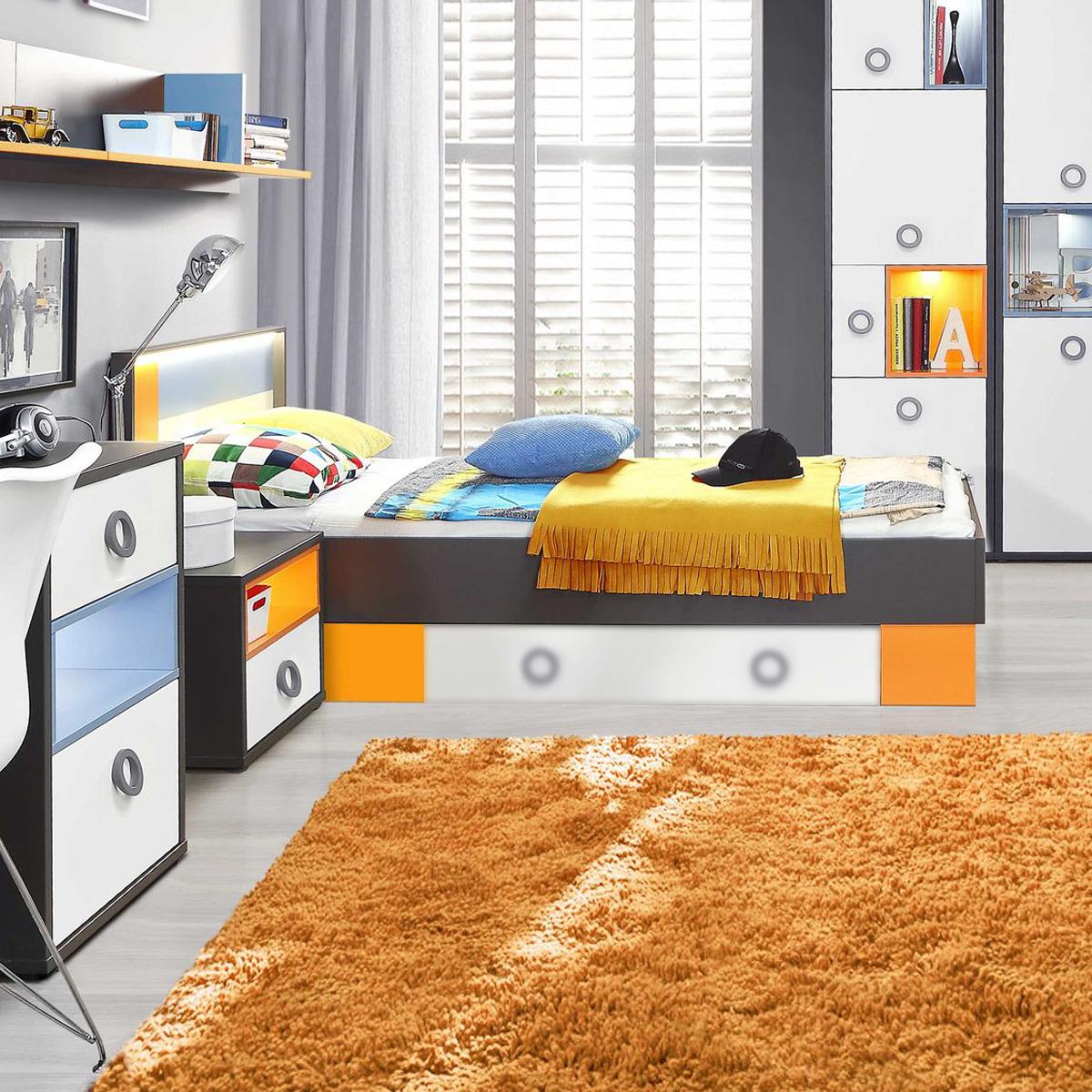 Flugzeugbett Looping Kinderbett Bett Fliegerbett weiß orange grau ...