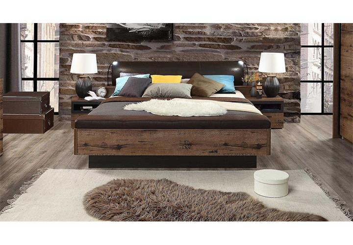 bett jacky bettgestell schlafzimmer mit bank schlammeiche schwarzeiche 180x200 ebay. Black Bedroom Furniture Sets. Home Design Ideas