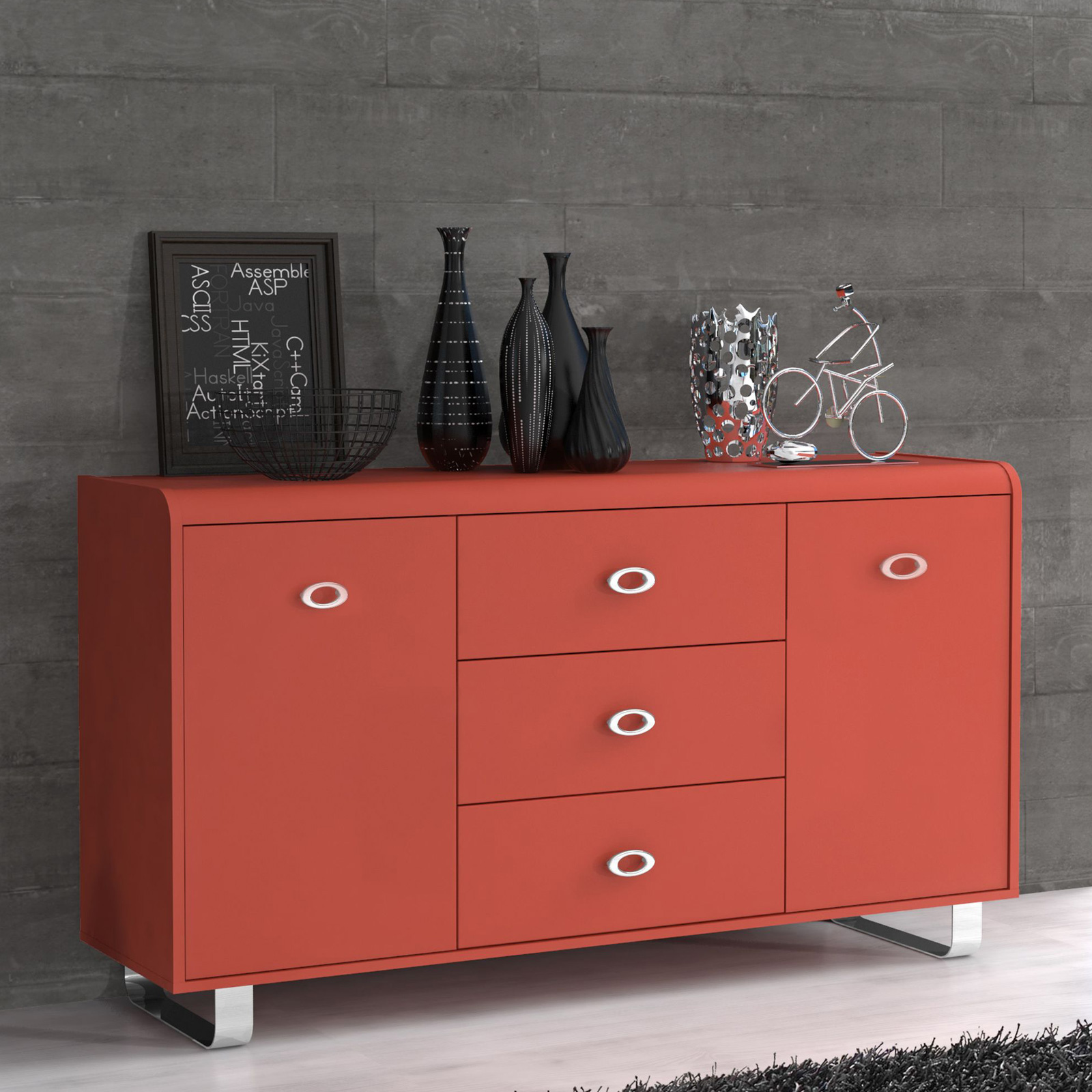 tv unterschrank gipsy kommode sideboard in orange blau rot oder grau auswahl ebay. Black Bedroom Furniture Sets. Home Design Ideas