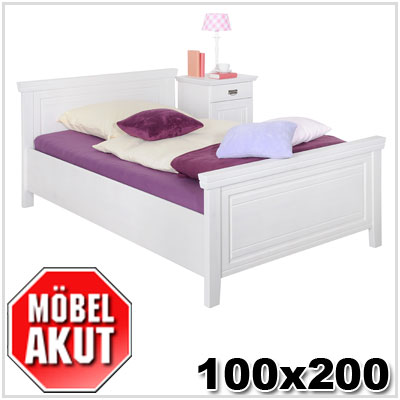 bett ronja in kiefer massiv wei neu 100 x 200 ebay. Black Bedroom Furniture Sets. Home Design Ideas