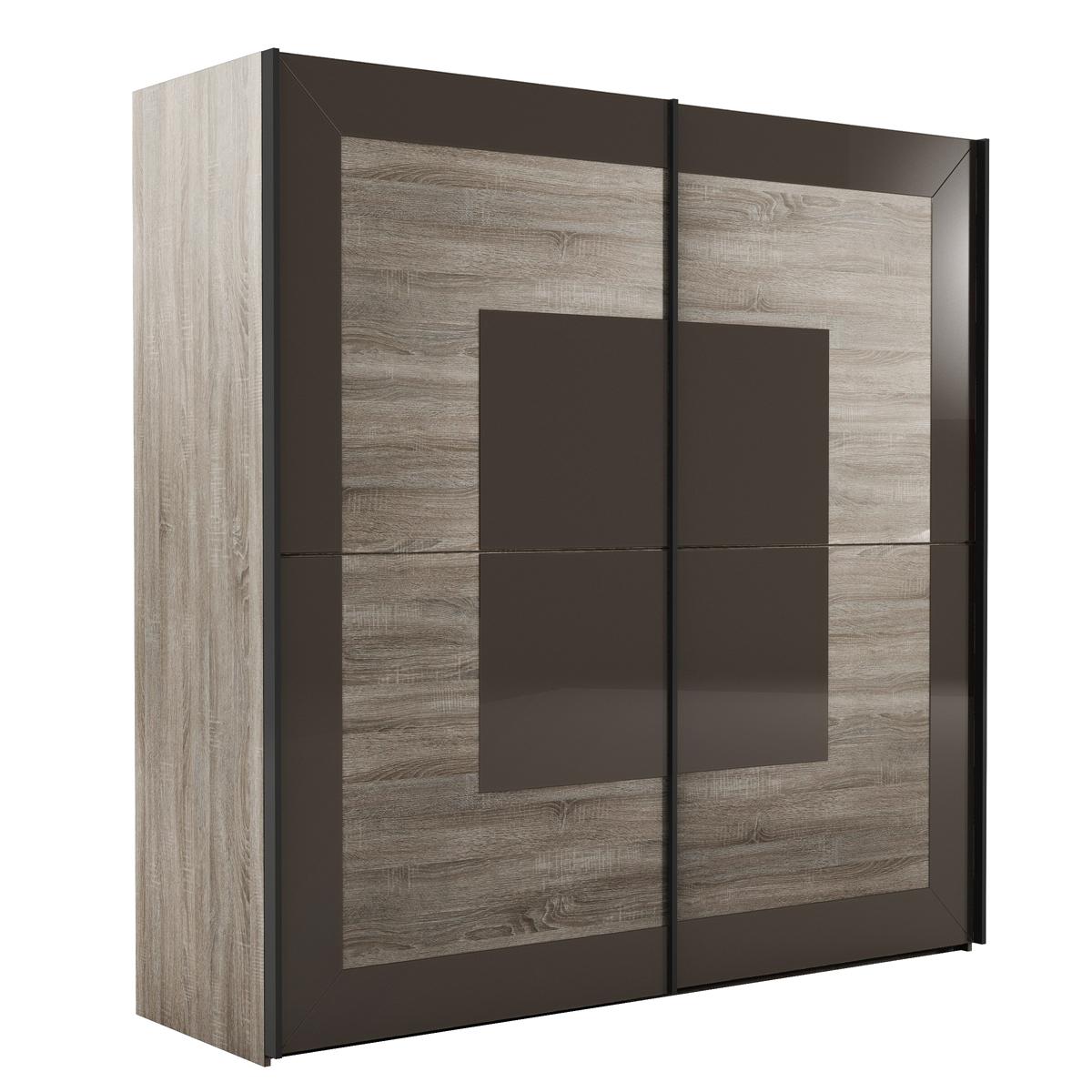 schwebet renschrank tisera kleiderschrank sonoma eiche dunkel glas schwarzbraun ebay. Black Bedroom Furniture Sets. Home Design Ideas