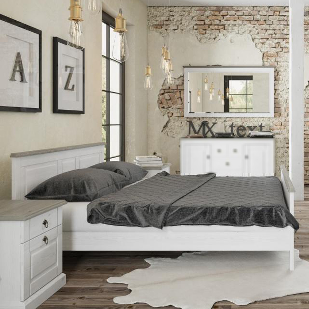 bettanlage lindo pinie wei taupe mit bett und 2 nachttischen im landhausstil ebay. Black Bedroom Furniture Sets. Home Design Ideas