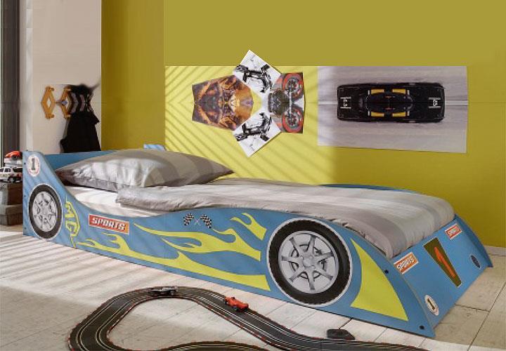 rennwagenbett in blau kinderbett jugendbett im rennwagendesign 90x200 ebay. Black Bedroom Furniture Sets. Home Design Ideas