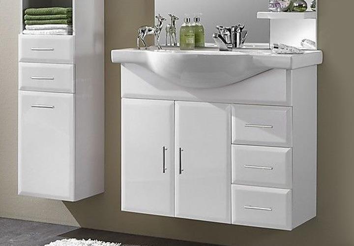 badblock wien 2 komplettbad schrank keramikbecken spiegel weiss inkl beleuchtung. Black Bedroom Furniture Sets. Home Design Ideas