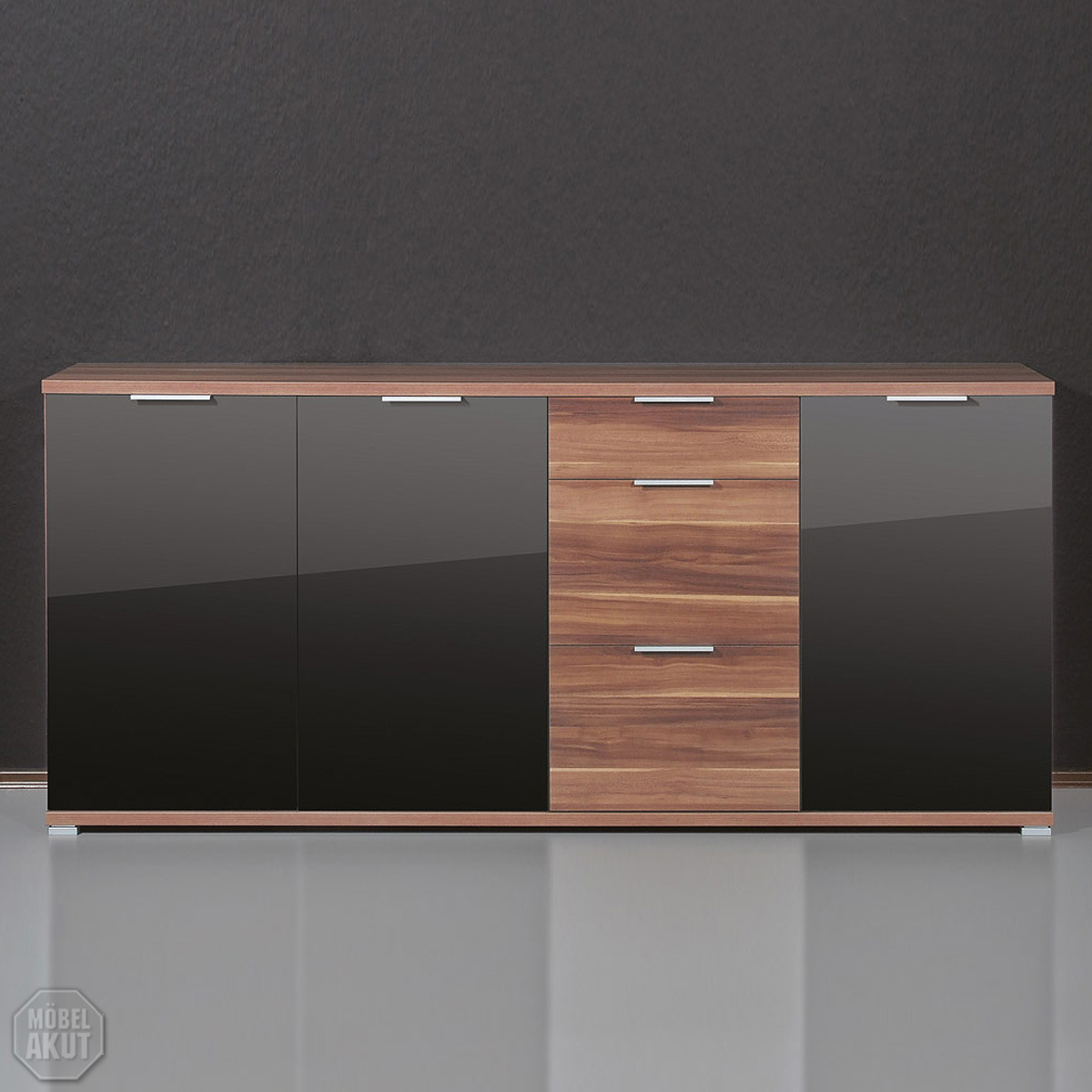 sideboard pace kommode in walnuss schwarz glas ebay. Black Bedroom Furniture Sets. Home Design Ideas