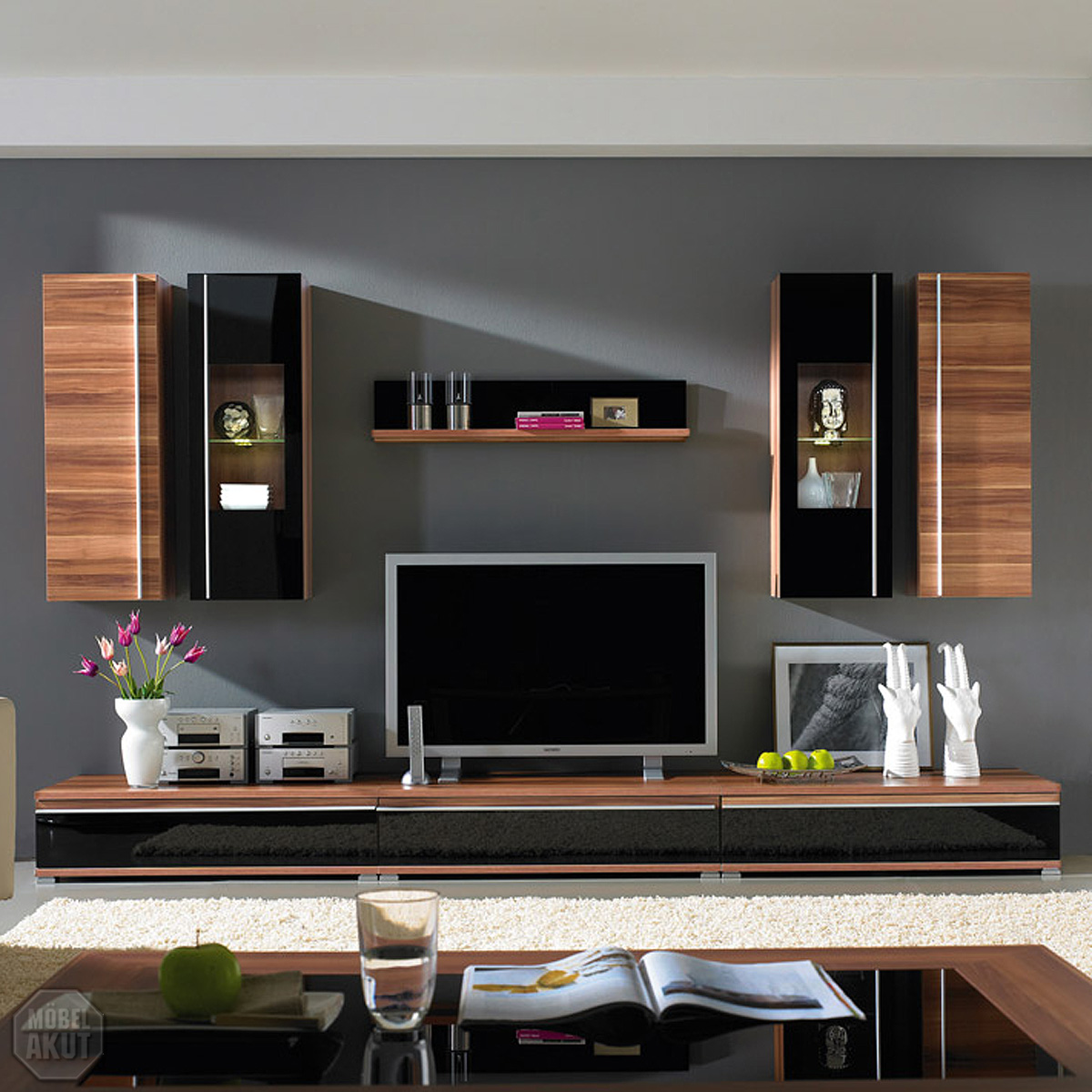 wohnwand pace 1 anbauwand walnuss schwarz glas neu ebay. Black Bedroom Furniture Sets. Home Design Ideas