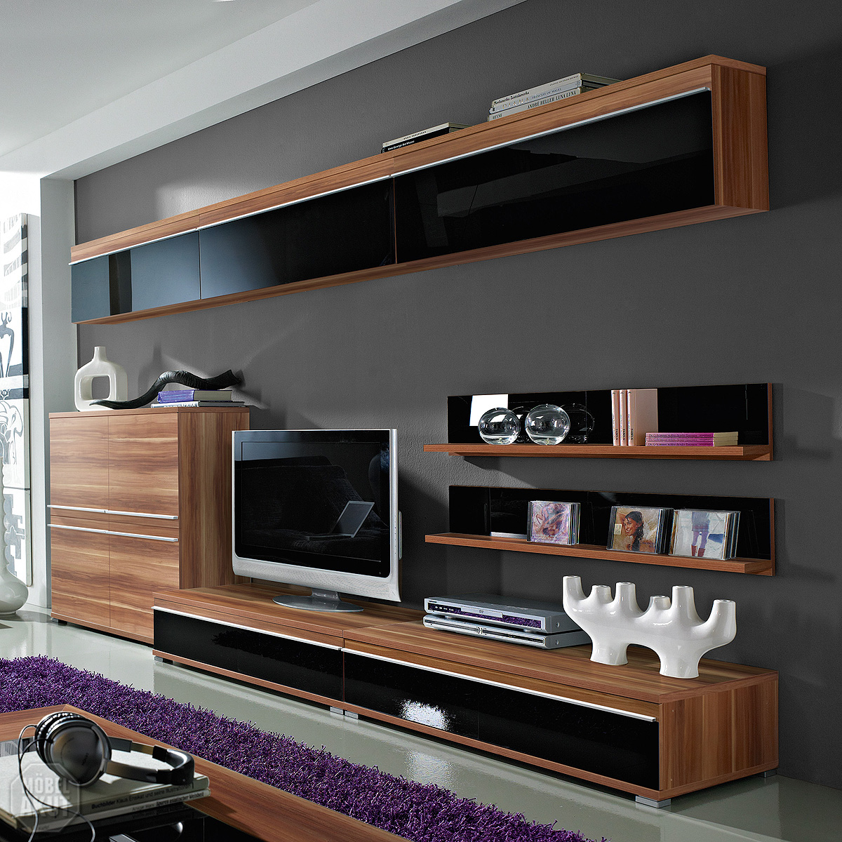 wohnwand pace 2 anbauwand walnuss schwarz glas neu ebay. Black Bedroom Furniture Sets. Home Design Ideas