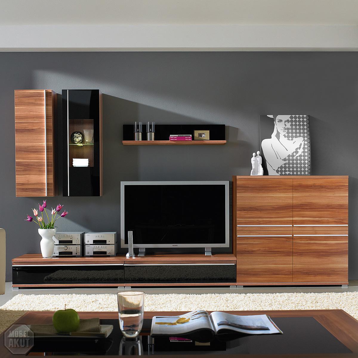 wohnwand pace 3 anbauwand walnuss schwarz glas neu ebay. Black Bedroom Furniture Sets. Home Design Ideas