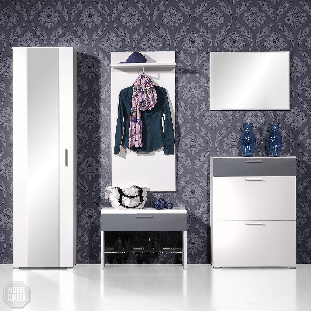 5 tlg garderoben set rios in weiss hochglanz grau. Black Bedroom Furniture Sets. Home Design Ideas