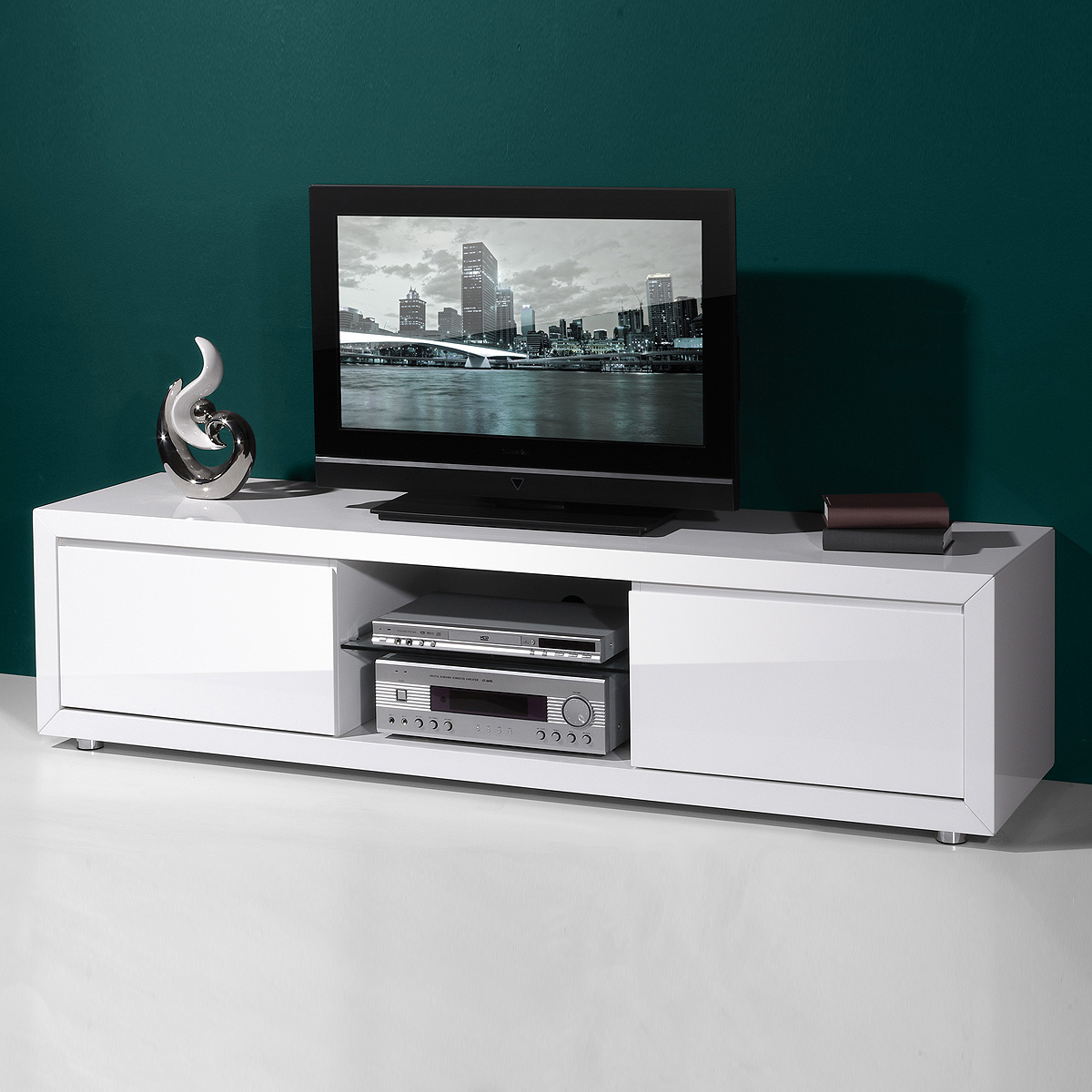 lowboard 1 fino tv board hifi m bel unterschrank wei hochglanz lack germania ebay. Black Bedroom Furniture Sets. Home Design Ideas