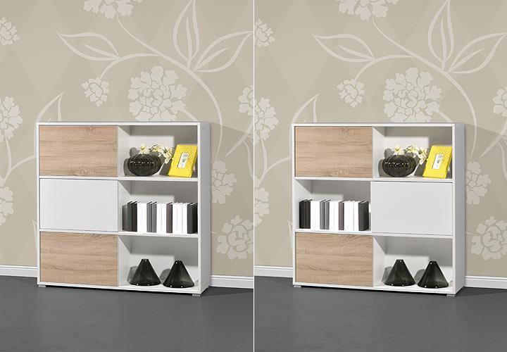 schiebet renregal slide regal aktenregal wei sonoma eiche 6 f cher germania. Black Bedroom Furniture Sets. Home Design Ideas