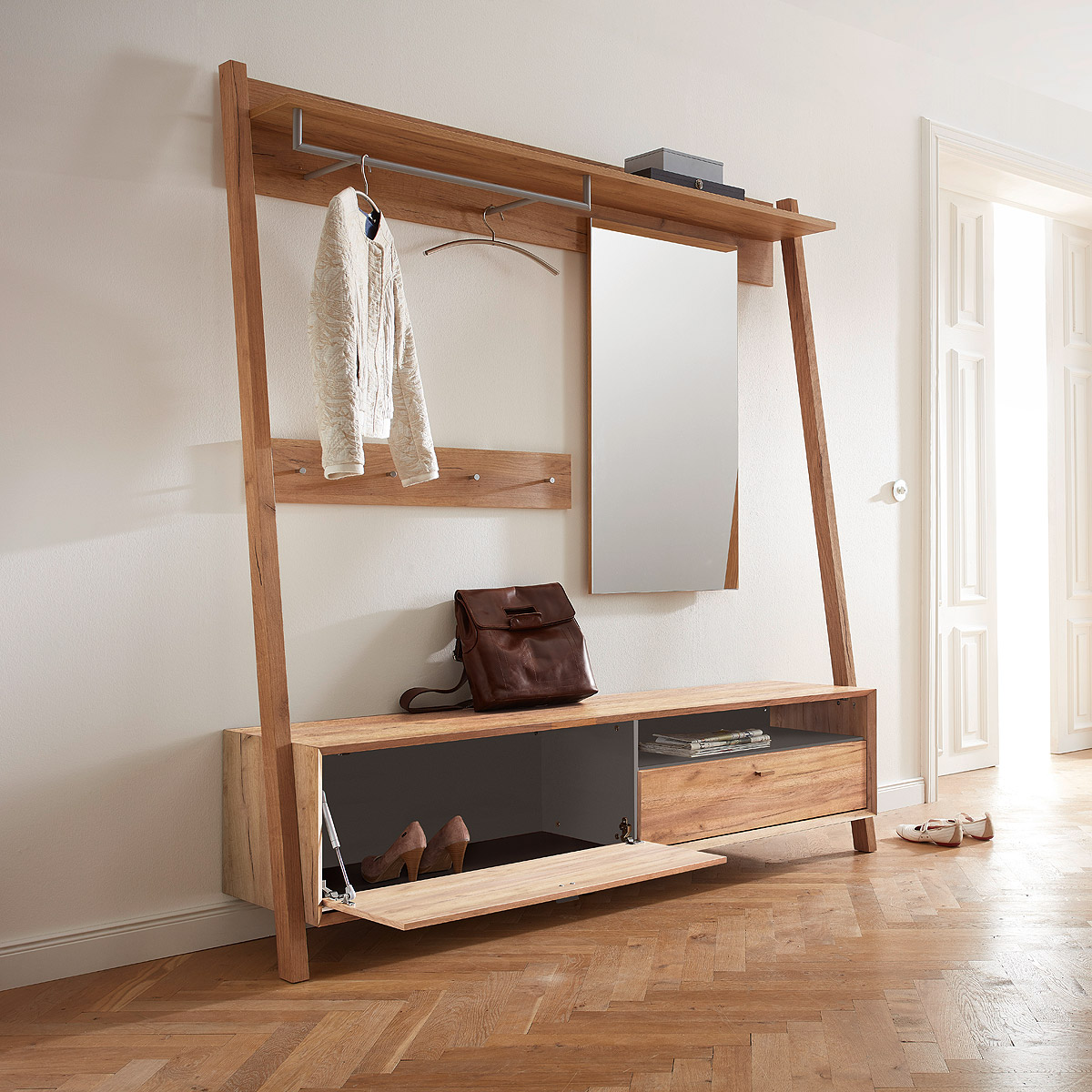 garderobe calvi flurm bel mit spiegel in navarra eiche steingrau von germania ebay. Black Bedroom Furniture Sets. Home Design Ideas
