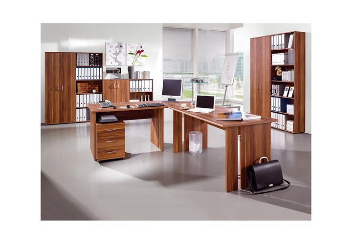 schreibtisch power b rotisch computertisch tisch in walnuss von germania 120 ebay. Black Bedroom Furniture Sets. Home Design Ideas