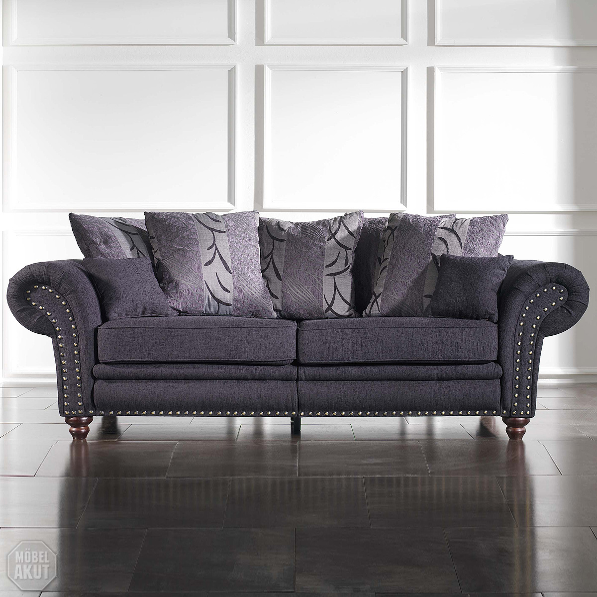 megasofa laos sofa in grau mit nagelung neu ebay. Black Bedroom Furniture Sets. Home Design Ideas