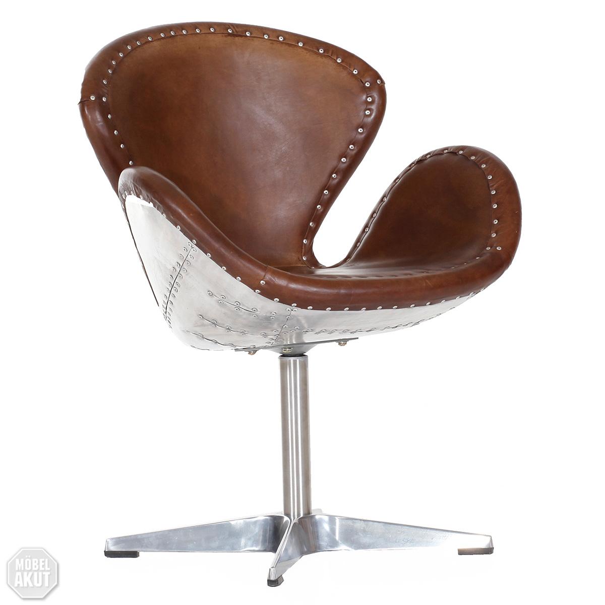 drehsessel aircraft vintage design echt leder und. Black Bedroom Furniture Sets. Home Design Ideas