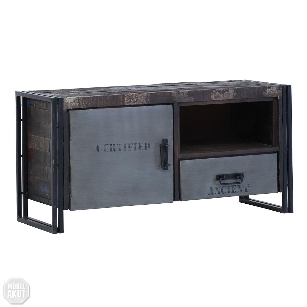 tv board titan lowboard metall antikfarben mango massiv ebay. Black Bedroom Furniture Sets. Home Design Ideas