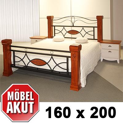 holz metall bett marco lattenrost braun b 160 cm ebay. Black Bedroom Furniture Sets. Home Design Ideas