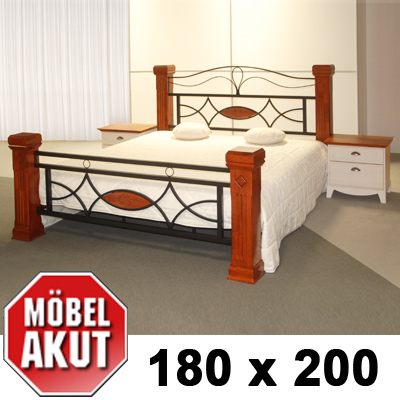 holz metall bett marco lattenrost in braun b 180 cm ebay. Black Bedroom Furniture Sets. Home Design Ideas