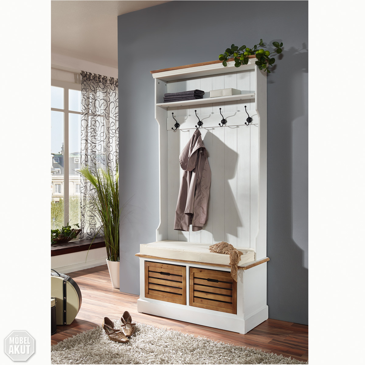 garderobe paris in paulownia holz weiss vintage look landhaus ebay. Black Bedroom Furniture Sets. Home Design Ideas