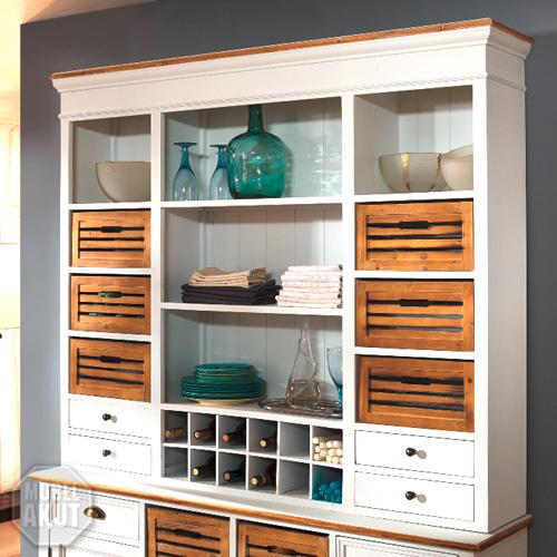 aufsatz paris buffet in paulownia holz weiss vintage look landhaus ebay. Black Bedroom Furniture Sets. Home Design Ideas