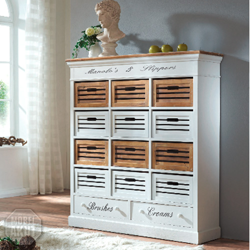 regal paris mit schubboxen in paulownia holz weiss vintage look landhaus ebay. Black Bedroom Furniture Sets. Home Design Ideas