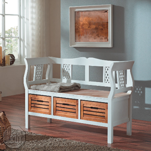 bank 2 paris holzbank in paulownia holz weiss vintage look. Black Bedroom Furniture Sets. Home Design Ideas