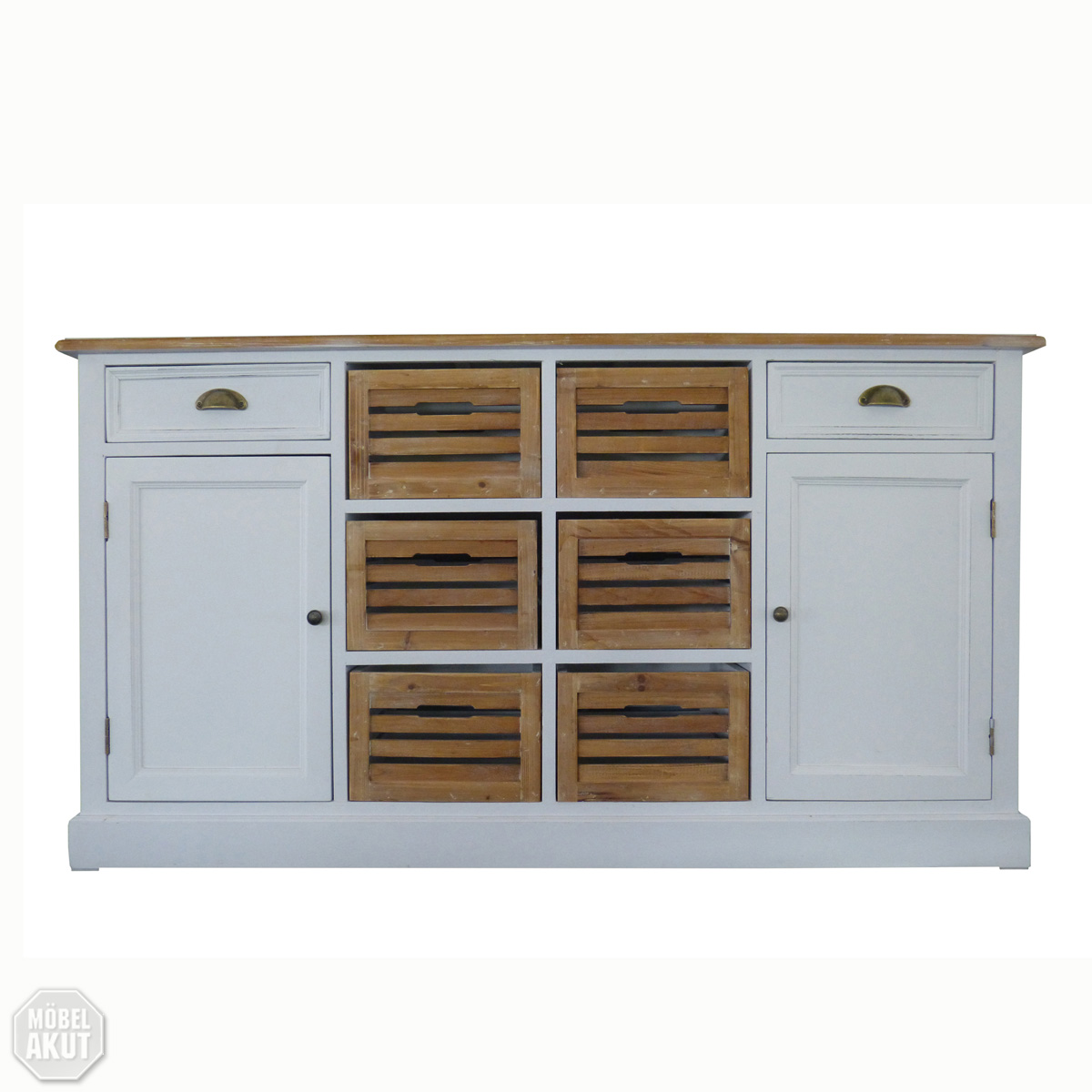 Sideboard 5 paris kommode in paulownia holz weiss vintage - Landhaus kommode ...