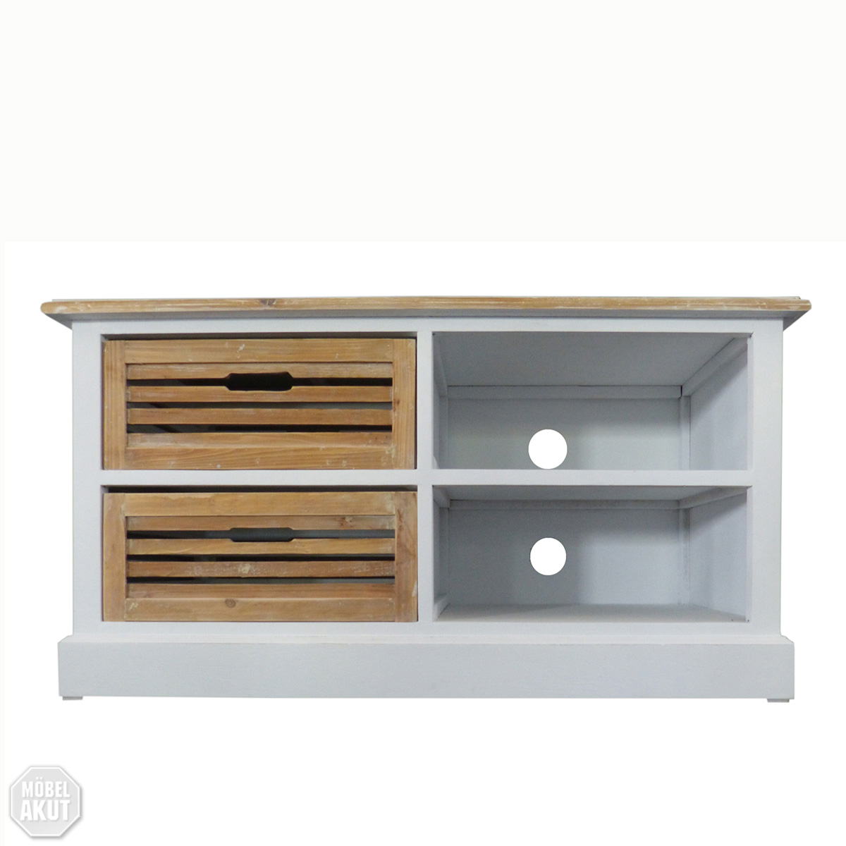 lowboard 1 paris tv board in paulownia holz weiss vintage look landhaus ebay. Black Bedroom Furniture Sets. Home Design Ideas
