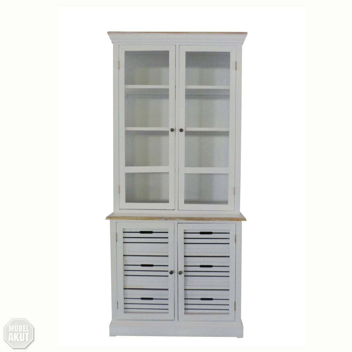 vitrine paris schrank in paulownia holz weiss vintage look landhaus ebay. Black Bedroom Furniture Sets. Home Design Ideas